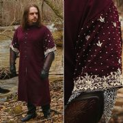 Short Sleeve Warriors Coat - In Wine Red